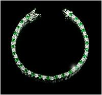 "Vintage $5000 9ct Round Emerald & Diamond 18k White Gold Over 7""Tennis Bracelet"