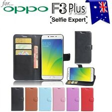"""For OPPO F3 Plus 6.0"""" PU Leather Wallet Card Holder Case TPU Cover"""