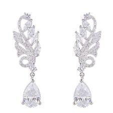 Zirconia Teardrop Bridal Sets Earrings Genuine Rhodium Plated Brass Prong Cubic