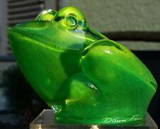 Zauberhafter Daum France Kristall Frosch grün schillernd - signiert Daum France