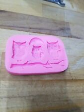 Owl owls family bird Silicone Mold Mould for cake Icing decoration  M149