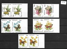 SMT, MONACO,1984, butterflies and plants, set, imperf paires stamps, MNH € 250