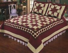 3Pc Scarlet Patchwork King Bed Quilt. Bedding Package Set. Star, Floral