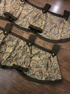 2 Waverly Garden Room Pleated Window Tab Valance Brown Paisley Button Trim 42x19