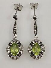 Art Deco Style Peridot, Diamond & Smoky Quartz 10kt White Gold Earrings,New