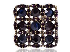 Geometric Magenta Pink Rhinestone Gems Flower Grid Adjustable Ring Chic Jewelry