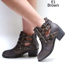 New Women Eury Black Tan Brown Western Ankle Booties Riding Low Heel Boots 5-10