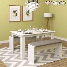 VICCO Tischgruppe Weiß - Sitzgruppe Essgruppe Holztisch Esstisch Holz Tisch