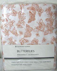 Vtg NEW Butterfly TWIN FLAT Sheet Perma Prest White Orange Muslin Sheet SEARS