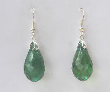 FACETED DEEP GREEN ACRYLIC CRYSTAL BRIOLETTE TEARDROP SILVER PLATE DROP EARRINGS