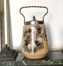 Antik Bonboniere Glasdose Keksdose Konfektdose Dose Opalglas Malerei Jugendstil