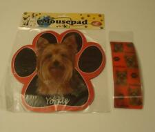 Yorkie Yorkshire Terrier Dog Breed Paw Print Mousepad + 3D Bookmark