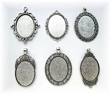 6 Mixed Ant. Silvertone 40mm x 30mm Cameo Costume Pendants Frames Settings Lot B