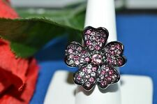 Kenneth Jay Lane RING Swarovski Crystal LARGE Flower Ring Size 9 Signed KJL