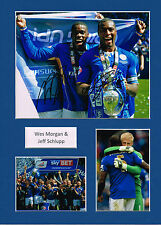 Wes MORGAN & Jeff SCHLUPP SIGNED Autograph 16x12 Mounted Photo AFTAL Leicester