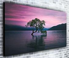 Lake Reflections Wall Décor Panoramic Canvas Wall Art Print Framed XXL 55 inch x