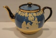 Gibsons Staffordshire England Blue & White Gold Trim Coffee Tea Pot