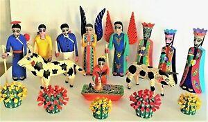 Mexican Folk Art Nativity Scene Wood Carving