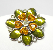 Vintage Brooch Pin Green & Amber Faceted Acrylic Hearts Leaves Rhinestones 1.75""