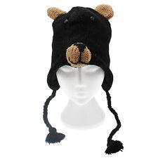 Fun Black Bear Handmade Winter Woollen Animal Hat Fleece Lining One Size, UNISEX