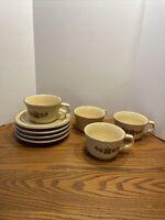Set of 4 Pfaltzgraff  Village Flat Cups & Saucers
