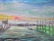 Paul McCarron Signed 1968 Vintage Oil Pastel Dock  Art Institute of Chicago NYC