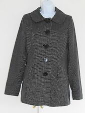 JANE NORMAN Light Weight Coat UK Size 12 Black and White Long Sleeve Good cond