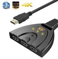 3 Geräte auf 1 TV Verteiler Splitter HDMI Kabel Umschalter Adapter UHD 4K