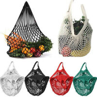Reusable String Shopping Grocery Bag Mesh Shoulder Bag Vegetable Fruit Pouch