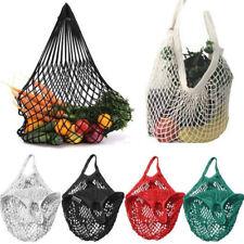 Reusable Mesh Net Cotton Shopping Grocery Fruit Storage Handbag Tote Bag Pouch