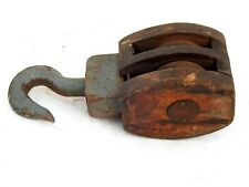Vintage Nautical Maritime Large Wooden Pulley Rustic Barn Iron Hook Block Tackle