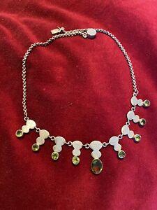 Sublime Collier Necklace Argent Silver Péridot Au Voir  Envoi International