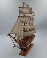 MAYFLOWER MAN O WAR Wooden Sailing Ship Model on Stand w/ Cloth Sails & Rigging