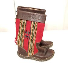 Born Indian Blanket Wool Brown Leather Size 6 Mid Calf Fashion Boots