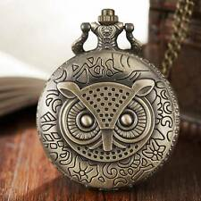 Vintage Cute Owl Quartz Pocket Watch Retro Men Women Necklace Chain For Children