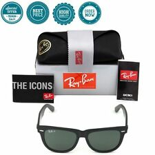 Authentic Ray Ban Wayfarer RB2140 Black 901/58 Polarized Green Classic 54mm Lens