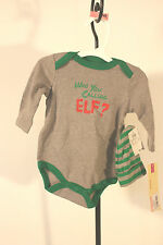 "Christmas Body Suit Cherokee Infant SZ 3M NEW Oufit 2 PC ""Who You Calling Elf"""