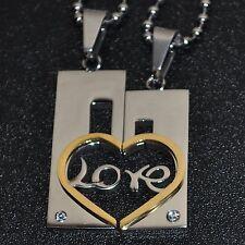 CADENA Compañeros LOVE Acero inox. 2 COLGANTE PAREJA + 2 corazón de Estras