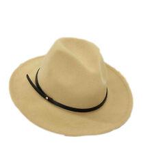 New Women Men Wide Brim Floppy Cowboy Hat Races Wool Felt Fedora Plain Color