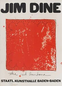 Jim Dine ''The Red Bandana'' 1971 Signed Lithograph Wonderful Frame