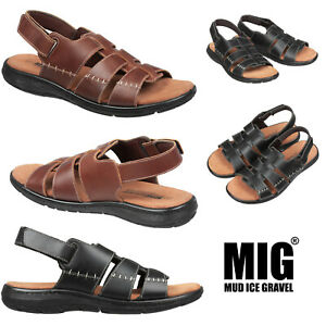 Mens Leather Adjustable Summer Sandals By MIG in Size 6 to 12 UK