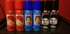 6 GOODMARK TEMPORARY HAIR COLOR SPRAYS- 3 different COLORS RED BLACK BLUE