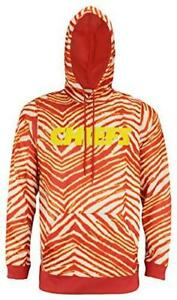 Zubaz Kansas City Chiefs Mens Size Large Pullover Zebra Hoodie C1 1339