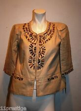 $99 NWT CALESSA TOP GOLD 100% LINEN  METAL DETAIL SIZE S