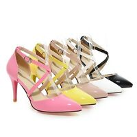 Ladies Shoes Shiny Synthetic Leather High Heels Ankle Strap Sandals US Size S126