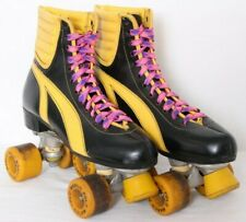 Marco Polo Warrior Black Vtg Leather Lace-Up Wheels Roller Skates Women's US 10