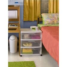 3 Drawer Sterilite Wide Plastic Storage Cabinet Rolling Cart Organizer Box White