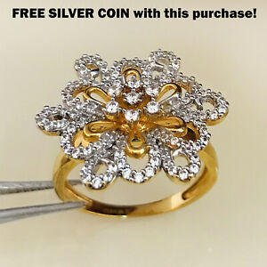22 Kt Solid Yellow Gold CZ Engagement Women'S Finger Ring 7.250 Gms Size 6 7 8 9