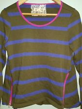 Lili's Closet Anthropologie Womens Stripezip T Shirt Green Blue Pink Stripe S