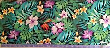 Hawaiian Tropical  Flowers BLACK Fabric (BY Half Yard) Hibiscus, Orchids, Lily